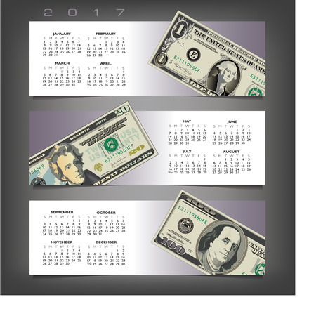 estate planning: 2017 calendar with three money banners