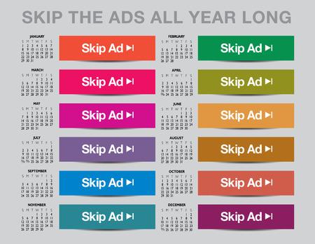 2017 Skip the ads calendar Illustration
