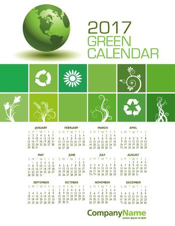 calandar: An Elegant 2017 Green Calendar with Space for Type
