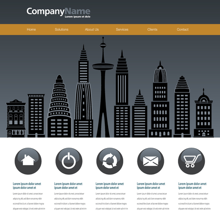 web site design template: City web site design template with space for text Illustration