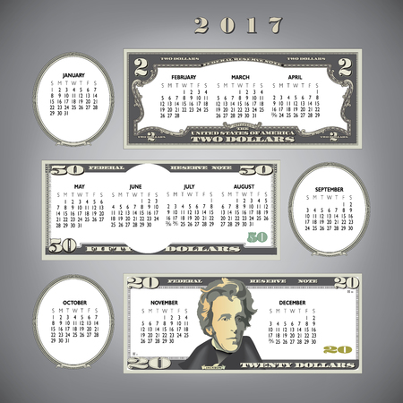 50 dollar bill: 2017 money calendar, ideal for any business