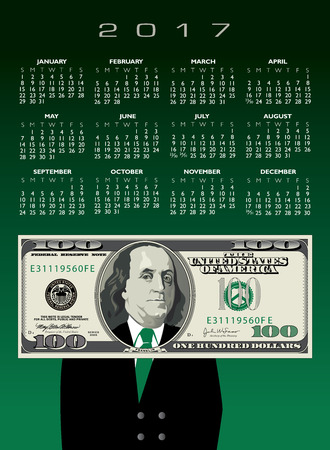 stylized banking: 2017 whimsical money calendar, ideal for any business Illustration