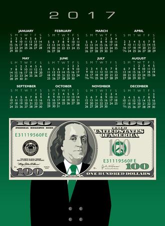 2017 whimsical money calendar, ideal for any business 矢量图像