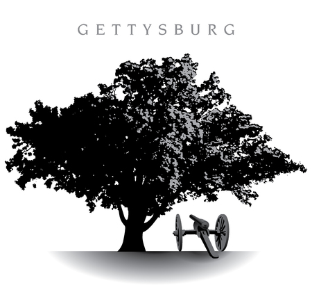 battlefield: tree atop Devil�s Den on the Gettysburg Battlefield Illustration