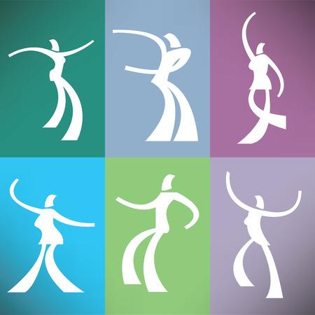 A set of six stylized dancers Illustration