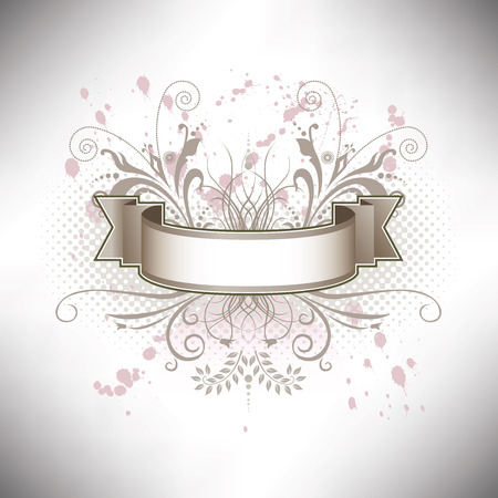 A floral banner in subdued colors Illustration