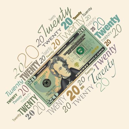 paper currency: A twenty dollar bill typographic design