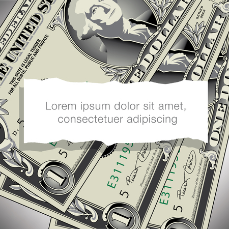 one dollar bill: A one dollar bill design with white space for text
