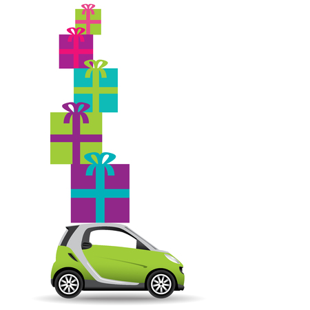 overflowing: A small car overflowing with colorful gifts
