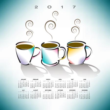 2017 creative coffee shop calendar Illusztráció