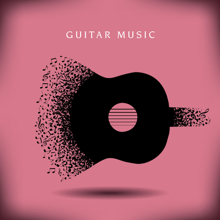 acoustics: Music Guitar background with space for type Illustration