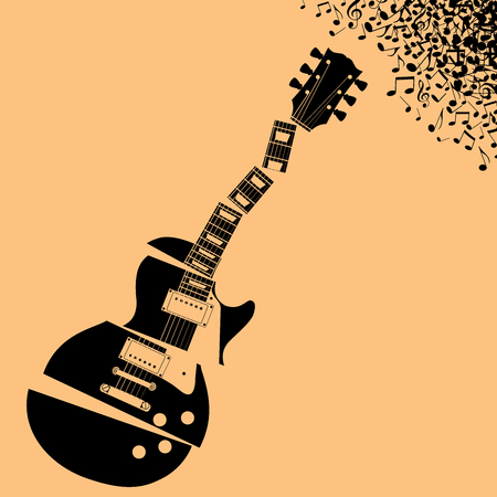lead guitar: Fractured Guitar Music background with space for type Illustration