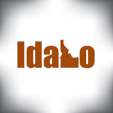 De Idaho vorm is binnen de Idaho naam Stock Illustratie