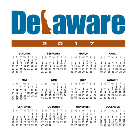 topographical: A 2017 creative Delaware calendar with the state outline Illustration