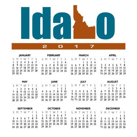Een 2017 creatieve Idaho kalender