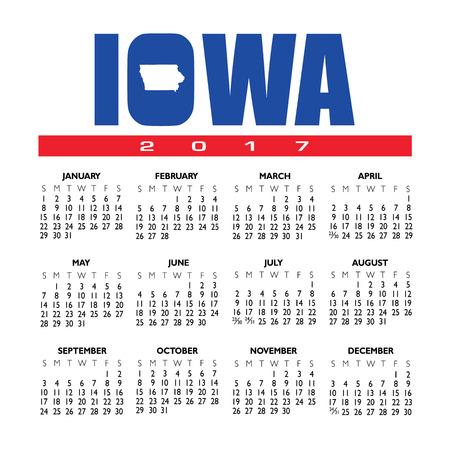 Een creatieve Iowa-kalender van 2017 met het overzicht van de staat