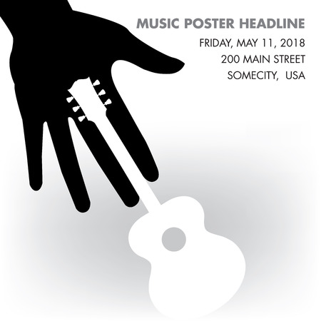 gig: Unusual guitar poster, ideal for music gig Illustration