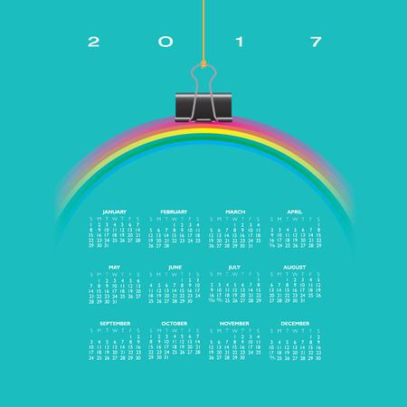 binder clip: A 2017 Calendar with Rainbow Hung by a Binder Clip Illustration