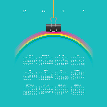 A 2017 Calendar with Rainbow Hung by a Binder Clip Illustration
