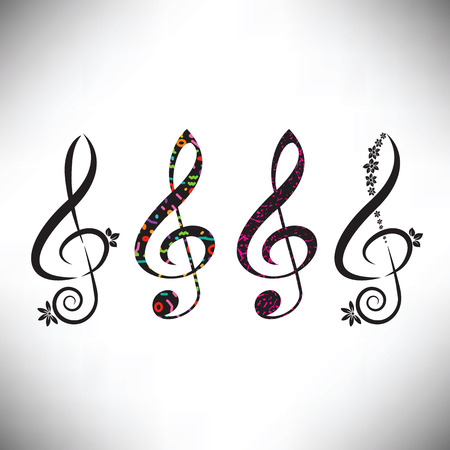 Choose from four assorted decorative G clefs Illustration