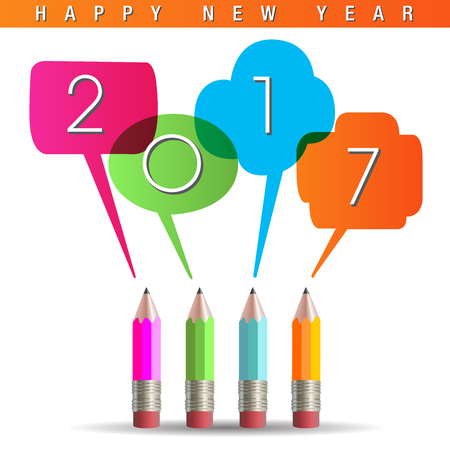 sharpening: 2017 Happy New Year graphic with talking pencils
