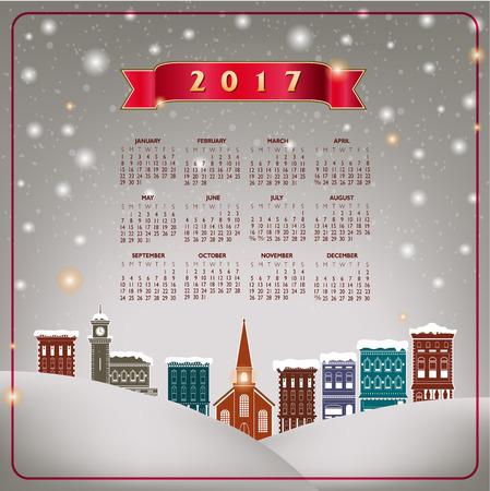 quaint: A 2017 quaint Christmas village calendar