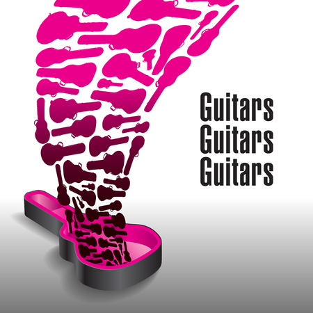 Never enough guitars is the theme of this graphic Illustration