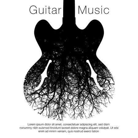 A stunning image of a guitar and tree