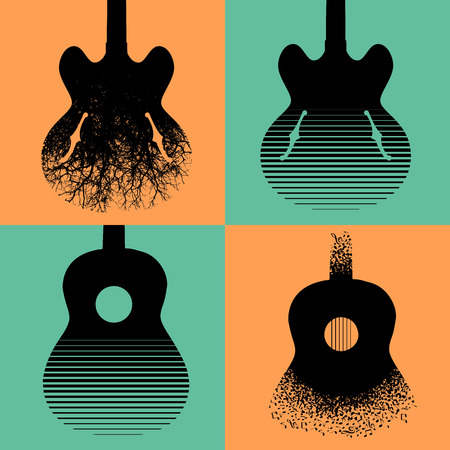 Four interesting guitar designs to choose from Vectores