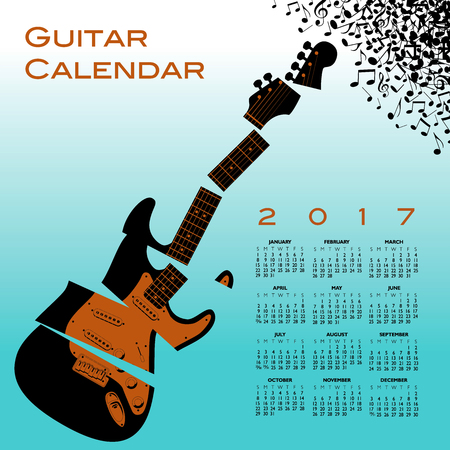 lead guitar: A 2017 calendar with a shredded guitar Illustration