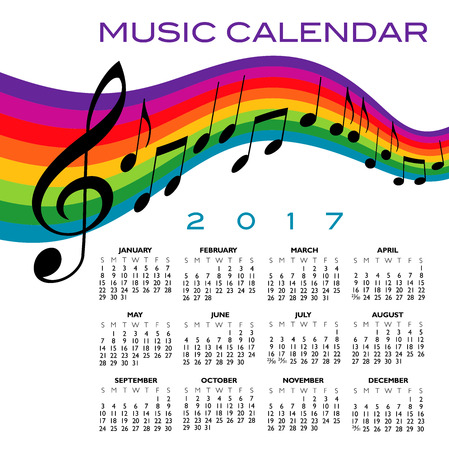 A 2017 calendar with a musical score and a rainbow