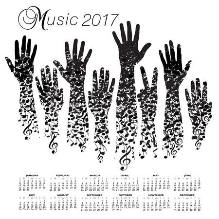 손으로 만든 창조적 인 2017 뮤직 캘린더