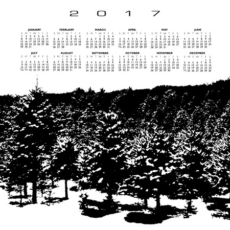 snow forest: A 2017 calendar with a snow covered pine forest Illustration