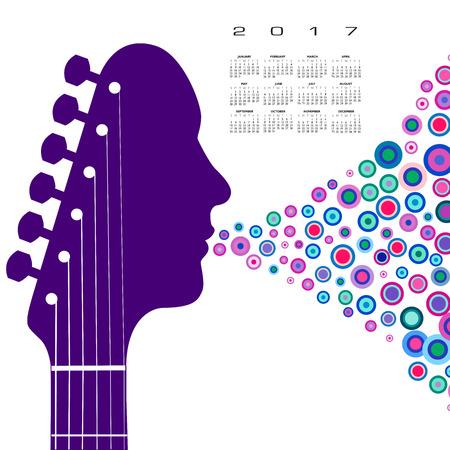 A 2017 calendar with a guitar headstock man Illustration
