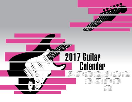 A 2017 calendar with an abstract shredded guitar