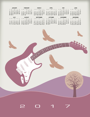 A 2017 calendar with a guitar theme for print or web