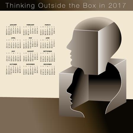 Een kalender 2017 met een man die buiten de kaders denkt