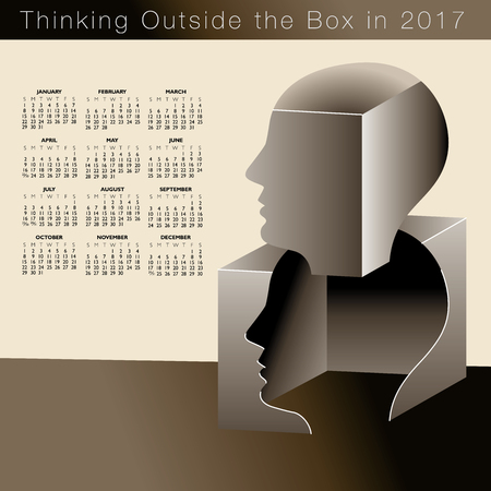A 2017 calendar with a man thinking outside the box