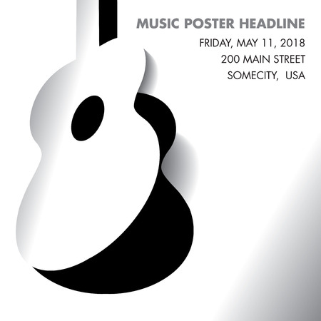 An acoustic guitar opens - ideal for gig flyers