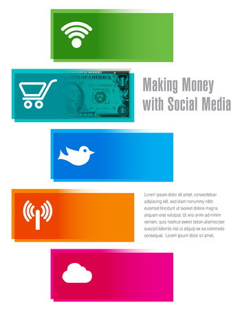 famous people: Making money with social media for print or web Illustration