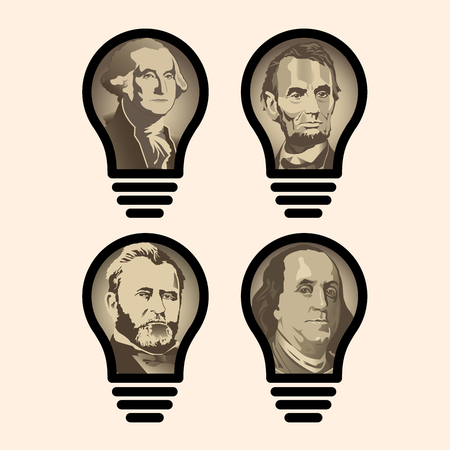 Four idea light bulbs that are also US Presidents