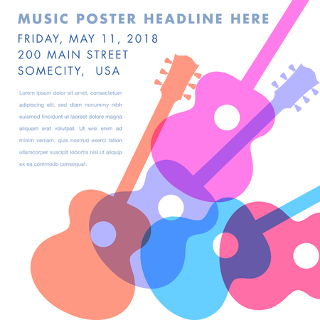 An abstract acoustic guitar design - ideal for gig flyers