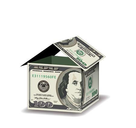 A house made out of 100 dollar bills Иллюстрация