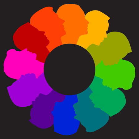 colofrul: A colorful diverse circle of faces Illustration