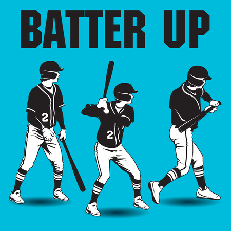 Batter up baseball artwork with three batters