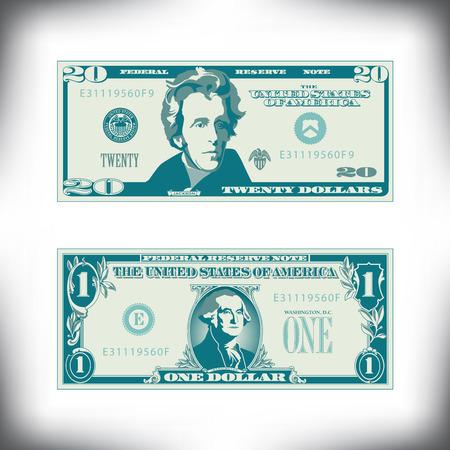두 개의 미국 지폐가 크게 단순화되고 양식화되었습니다. 일러스트