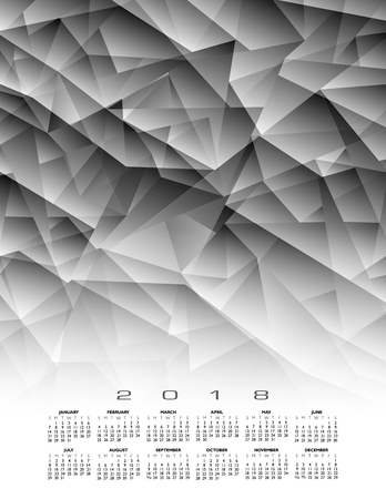 An abstract 2018 calendar background in grayscale