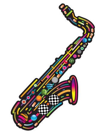 jazzy: Jazzy colorful music background with an abstract sax Illustration
