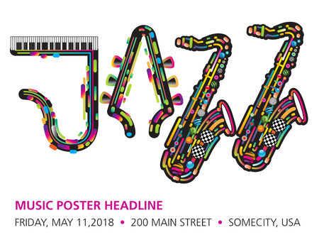 Jazzy colorful music background with an abstract sax Illustration