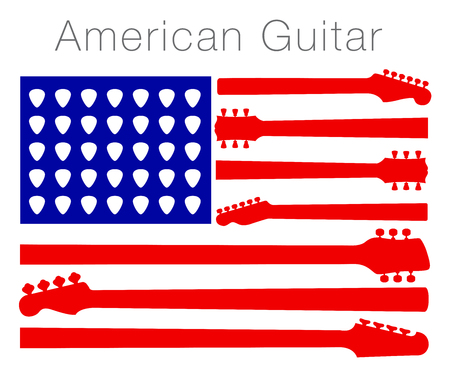 An American flag made out of guitar parts and picks Ilustração
